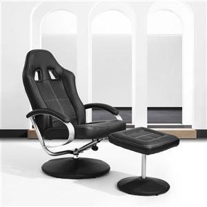 Fauteuil inclinable FurnitureR avec pouf, similicuir noir
