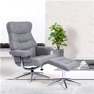 FurnitureR Recliner with Ottoman Calan - Grey