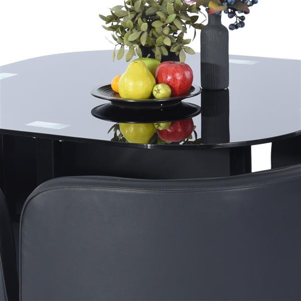 FurnitureR Dining Set Pizza Dc Lmkz - Black - 5-Piece