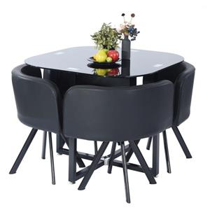 FurnitureR Dining Set Pizza Dc Lmkz - Black - 5-Piece