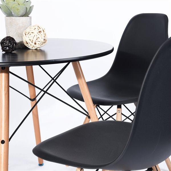 FurnitureR Modern Dining Table-Round 31.5''-Solid Wood Legs-Black