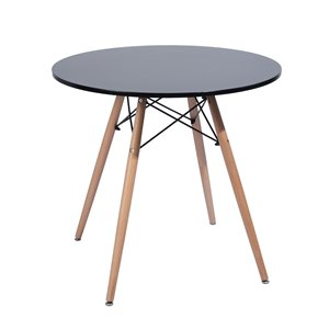 FurnitureR Modern Dining Table-Round 31.5''-Solid Wood Legs-Black
