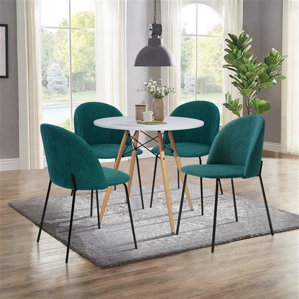 FurnitureR Table de salle à manger moderne ronde 31,5 po- blanc