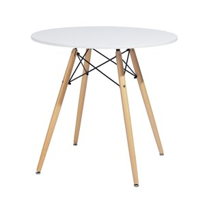 FurnitureR Modern Dining Table-Round 31.5''-Solid Wood Legs-White