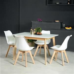 FurnitureR Dining Table - White and Natural - 27.5-in  x 47-in