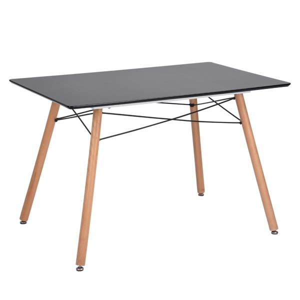 FurnitureR London S Dining Table - Natural and Black - 31.5-in  x 47-in