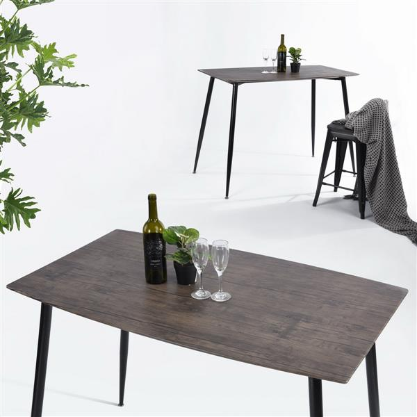 FurnitureR Dining Table - Wooden Walnut - 48-in  x 28-in