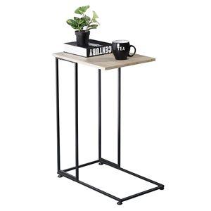 FurnitureR Table d'appoint, hêtre et base noire