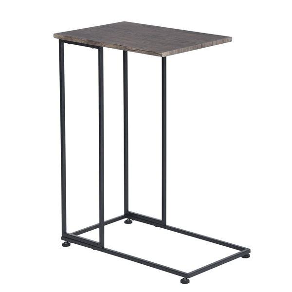Petite table d'appoint FurnitureR, noir et noyer foncé