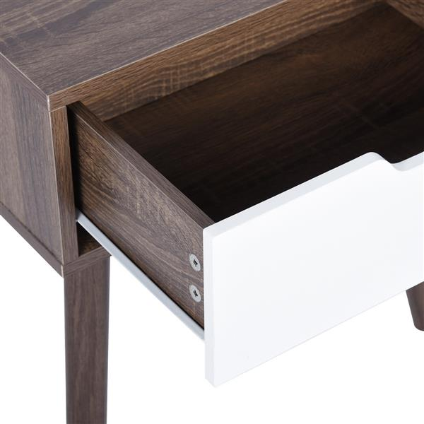 FurnitureR End table with White Drawer - Dark Wood