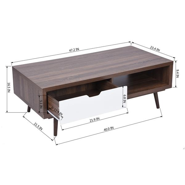 FurnitureR TV Stand with 1 White Drawers - Walnut - 47-in