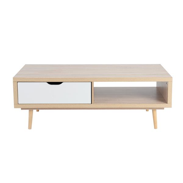 FurnitureR TV Stand with 1 Drawers - Beech/White - 47-in