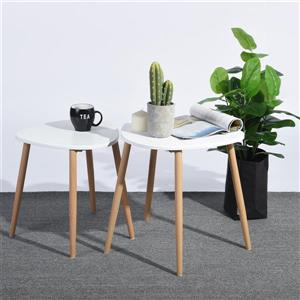 FurnitureR Modern Side Table - Wood and White - Set of 2