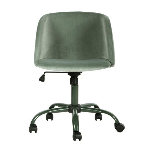 FurnitureR Matthews Office Chair with Casters- Velvet Cactus