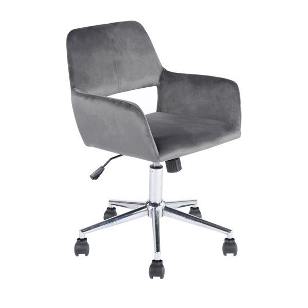 FurnitureR office Chair - Velvet Grey and Chrome