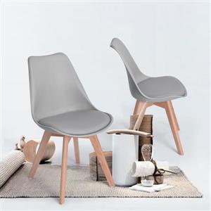 Chaise de salle à manger,  similicuir gris/bois, ens. de 4