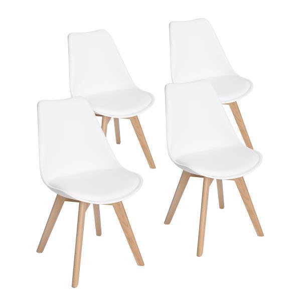 Chaise de salle à manger,  similicuir blanc/bois, ens. de 4