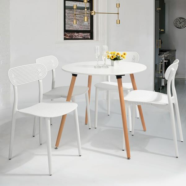 Classic Wooden Sofa Set, Furniturer Dining Chair White Plastic Pp Set Of 4 0000600006381 Rona
