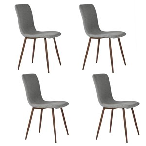 FurnitureR Dining Chair Set of 4, Grey