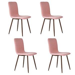 FurnitureR Dining Chair Set of 4, Pink