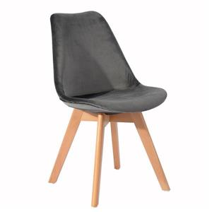 Chaise de salle à manger,  velours gris/bois, ens. de 4