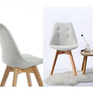 Chaise salle à manger FurnitureR touffeté,  Beige, ens. de 4