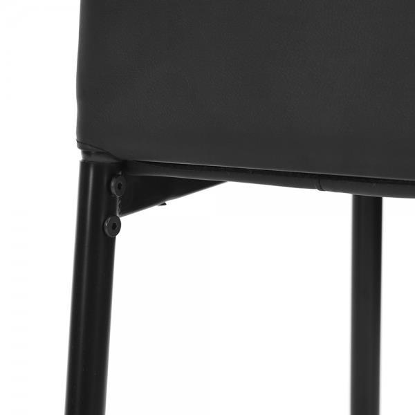 Chaise salle à manger, similicuir noir, ens. de 4