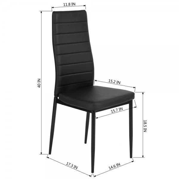 FurnitureR Black High Back Dining Chair - Set of 4