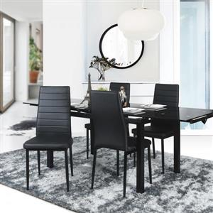 FurnitureR Black High Back Dining Chair - Set of 4