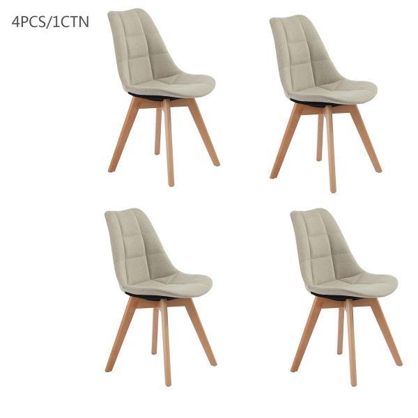 FurnitureR Dining Chair - Cream Fabric/Wood Leg - Set of 4