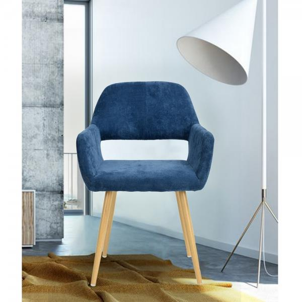 FurnitureR Dining or Side Chair with Arm - Dark Blue