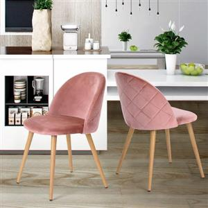 Chaises de salle à manger ou d'appoint Zomba, rose, ens. de 2