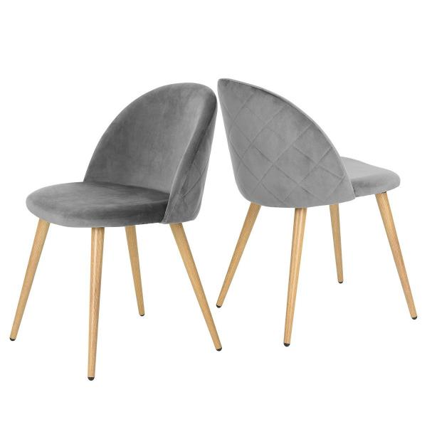 FurnitureR Zomba Dining Chair - Grey Velvet - Set of 2