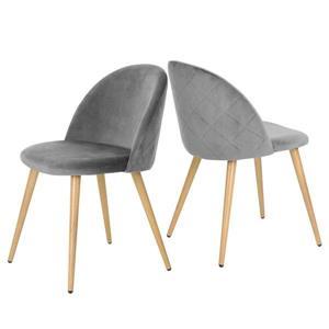 Chaise salle à manger Zomba en velours gris, ens. de 2