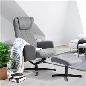 Fauteuil inclinable avec pouf Darby, tissu gris