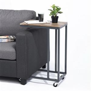 Petite table d'appoint FurnitureR, noir et noyer