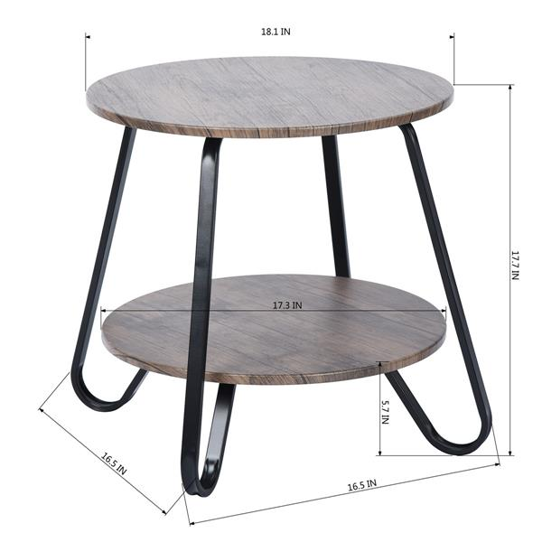 FurnitureR Coffee Table MDF with Black Metal Tube