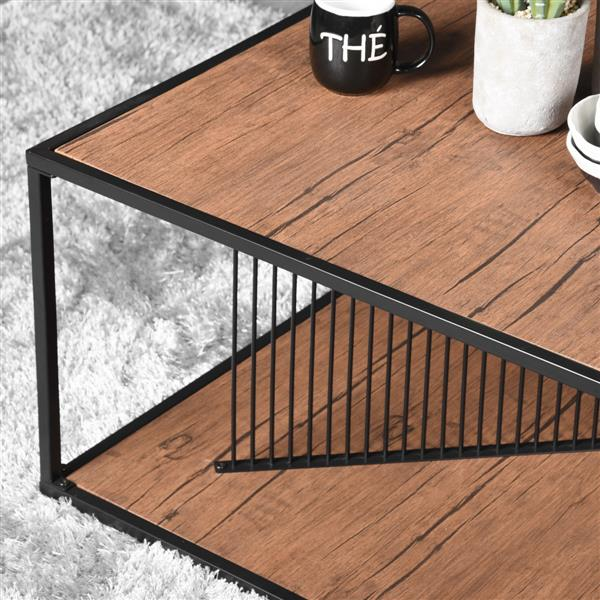 FurnitureR Metal tube Coffee table - Black and Wood