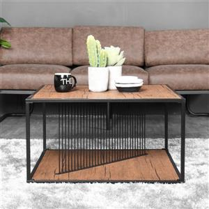 FurnitureR Metal tube Coffee table - Black and Wood