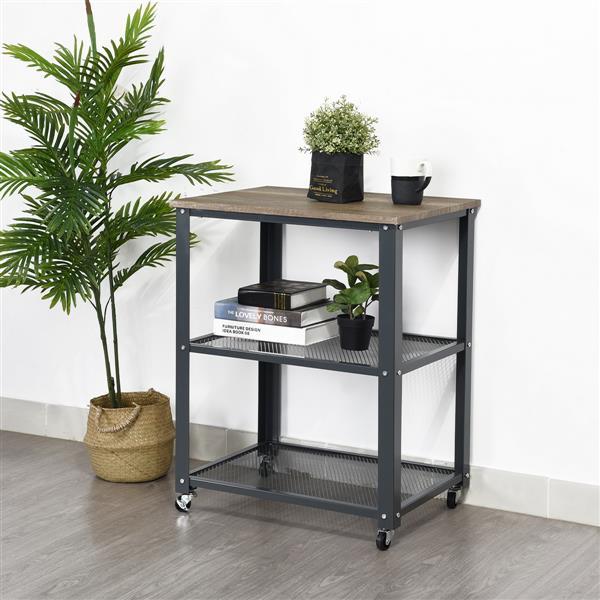 FurnitureR Side Table Metal Frame with wheels - 2 Shelves - Grey