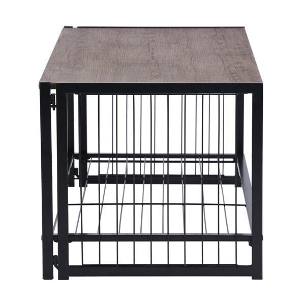 Table de salon Vintage FurnitureR, MDF et tubes, noir, 39 po