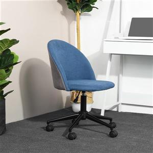 Chaise de bureau FurnitureR, tissu bleu et dossier gris