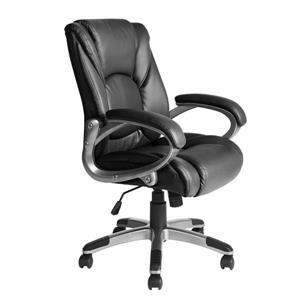 FurnitureR Boss Office Chair - Black and Chrome