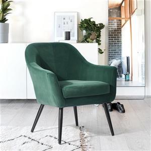 FurnitureR Fauteuil d'appoint, velours vert