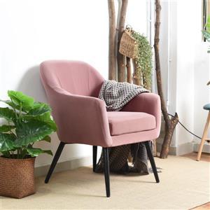 FurnitureR Fauteuil d'appoint, velours rose