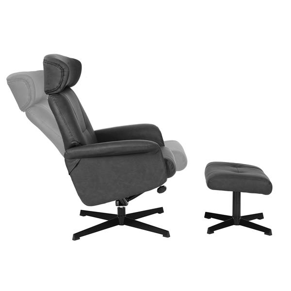 FurnitureR Recliner with Ottoman - Black Faux Leather
