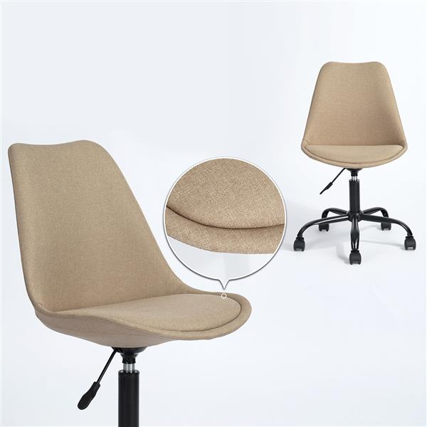 FurnitureR Higos Office chair - Height Adjustable -Beige Fabric