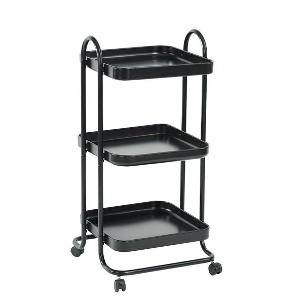 Furniturer Taite Black 3-Tier Rolling Kitchen Cart with Wheels - Black. 0600300002262
