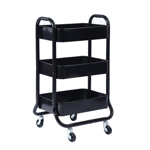 Furniturer Sylvia 3-Tier Rolling Kitchen Cart with Wheels - Black. 0600300008478