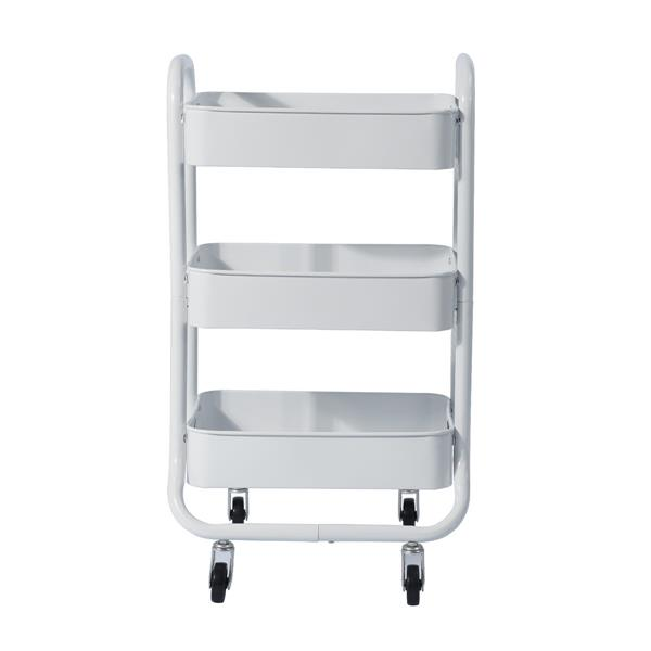 Furniturer Sylvia 3-Tier Rolling Kitchen Cart with Wheels - White. 0600300008479